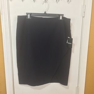 DKNY dark-navy wrap skirt with matching rib tights